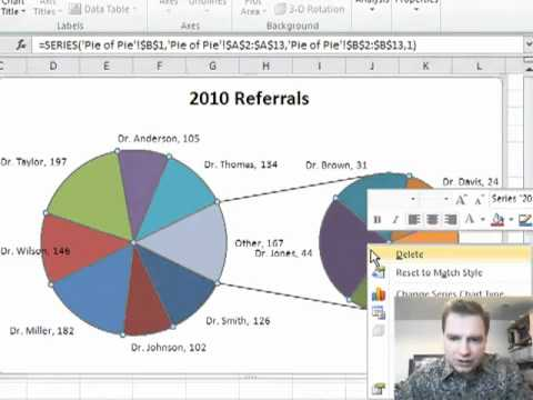 Excel video pie of charts also youtube rh