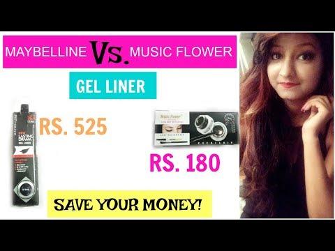 Music Flower Gel Eyeliner(Black/Blue) Full Review VS Maybelline Gel EyeLiner|Cheapest & Best|Kolkata