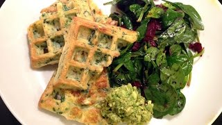 Spinach Cheese Waffles | Healthy Green Waffles | Spinat-Käse-Waffeln