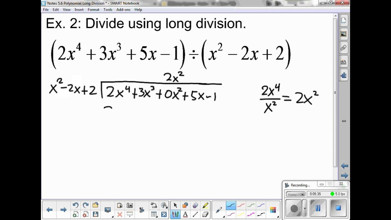 Synthetic Division Notes - YouTube