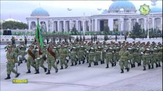 Turkmenistan Military Parade, October 27 2014(Turkmenistan celebrates the 23th anniversary of its independence with a military parade in Ashgabat. Recorded from Yaslyk TV, via satellite Yamal 202 at ..., 2014-10-28T07:20:17.000Z)