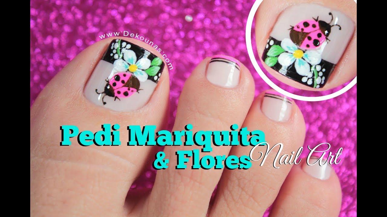 Diseno De Unas Mariquita Y Flores Ladybug Flower Nail Art Youtube