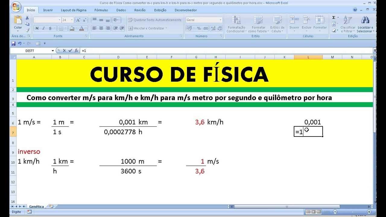 Curso de Física Como converter m/s para km/h e km/h para m