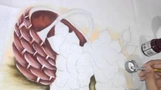 Pintura em tecido – Aula completa, cesta, rosa e folhas