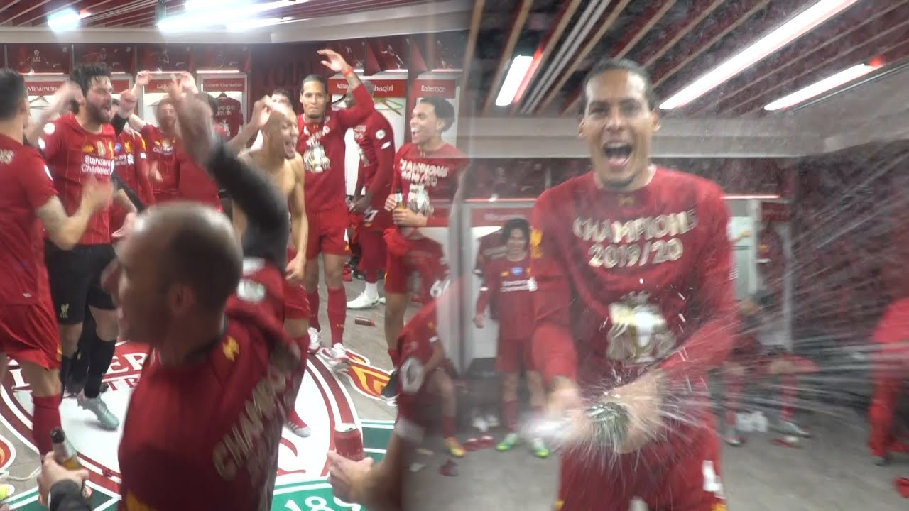 Inside the LFC dressing room - Liverpool celebrate the title at Anfield