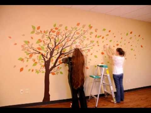 Dali Wall Decals Tall Tree With Leaves Blowing In The Wind - How to put up a tree wall decal