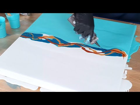 Acrylic Pouring - Soft Turqouise SPLIT COLOR Tutorial - Fluid Dutch Pour Painting