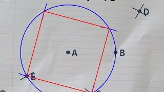Constructing a square with a ruler and compass, inside a given circle