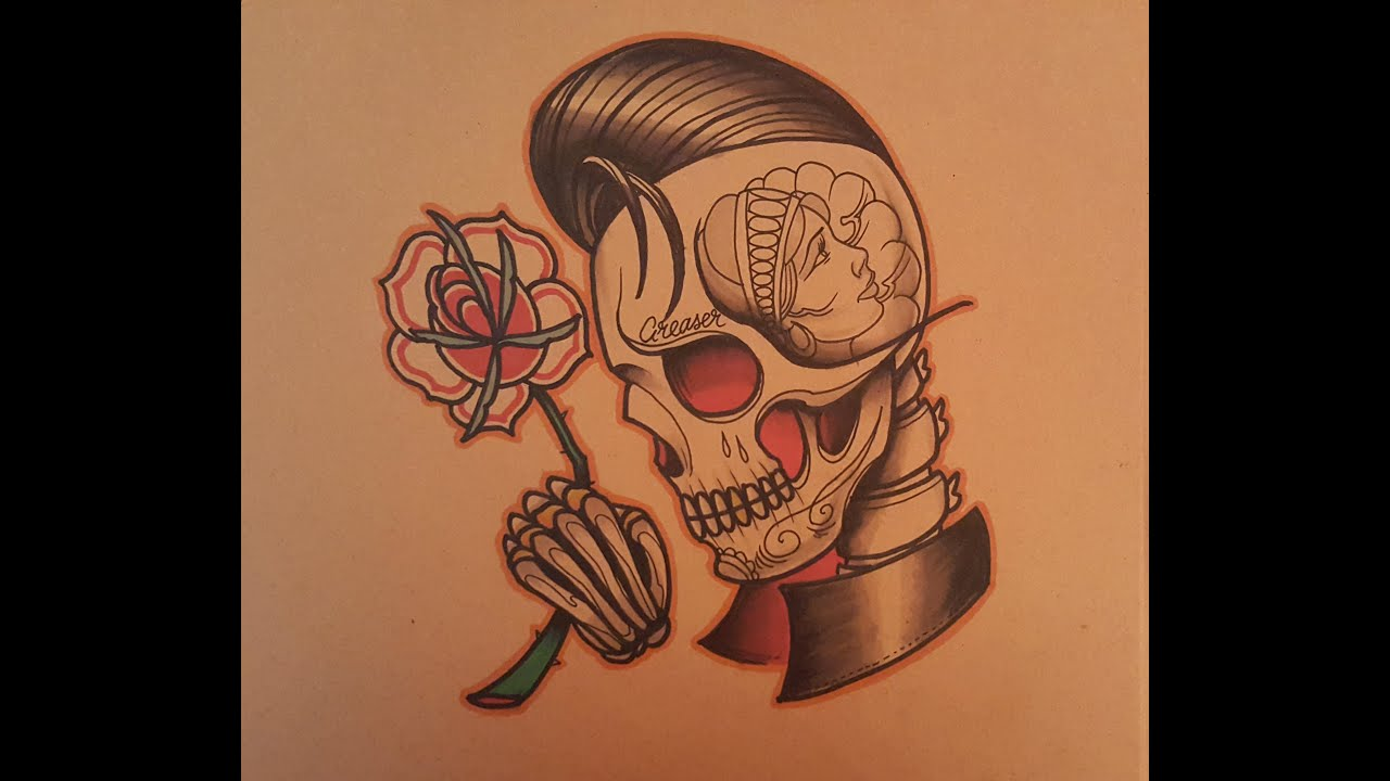 0b40f08f915d9 How to Draw a Neo Traditional Greaser Skull by thebrokenpuppet - YouTube