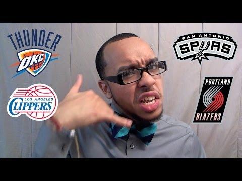 TEA: NBA PLAYOFF PREDICTIONS Western Conference Finals & Semi Final RECAP OKC Spurs Clippers Blazers