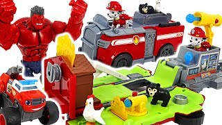 Paw Patrol Marshall Ride N Rescue Transforming fire truck! Defeat angry red hulk! #DuDuPopTOY