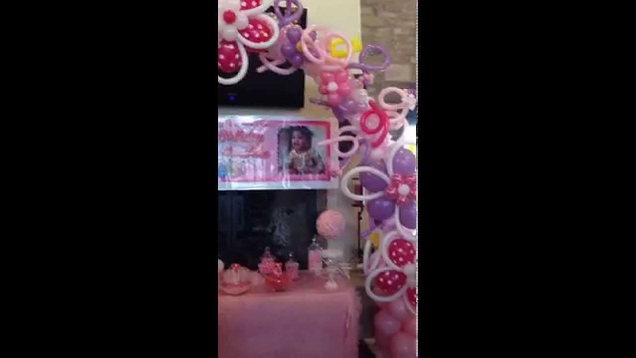 Flower Themed Balloon Decor For Baby Girls First Birthday Party
