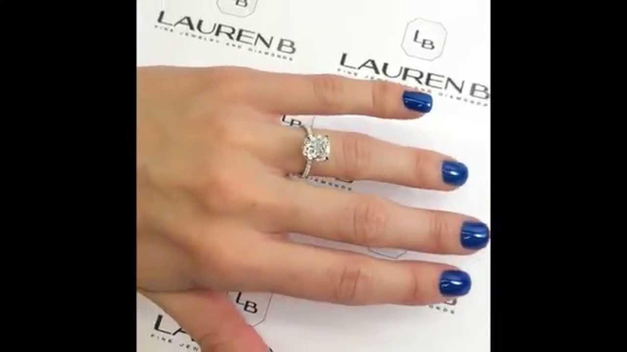 Elongated 3 Ct Cushion Cut Diamond Engagement Ring