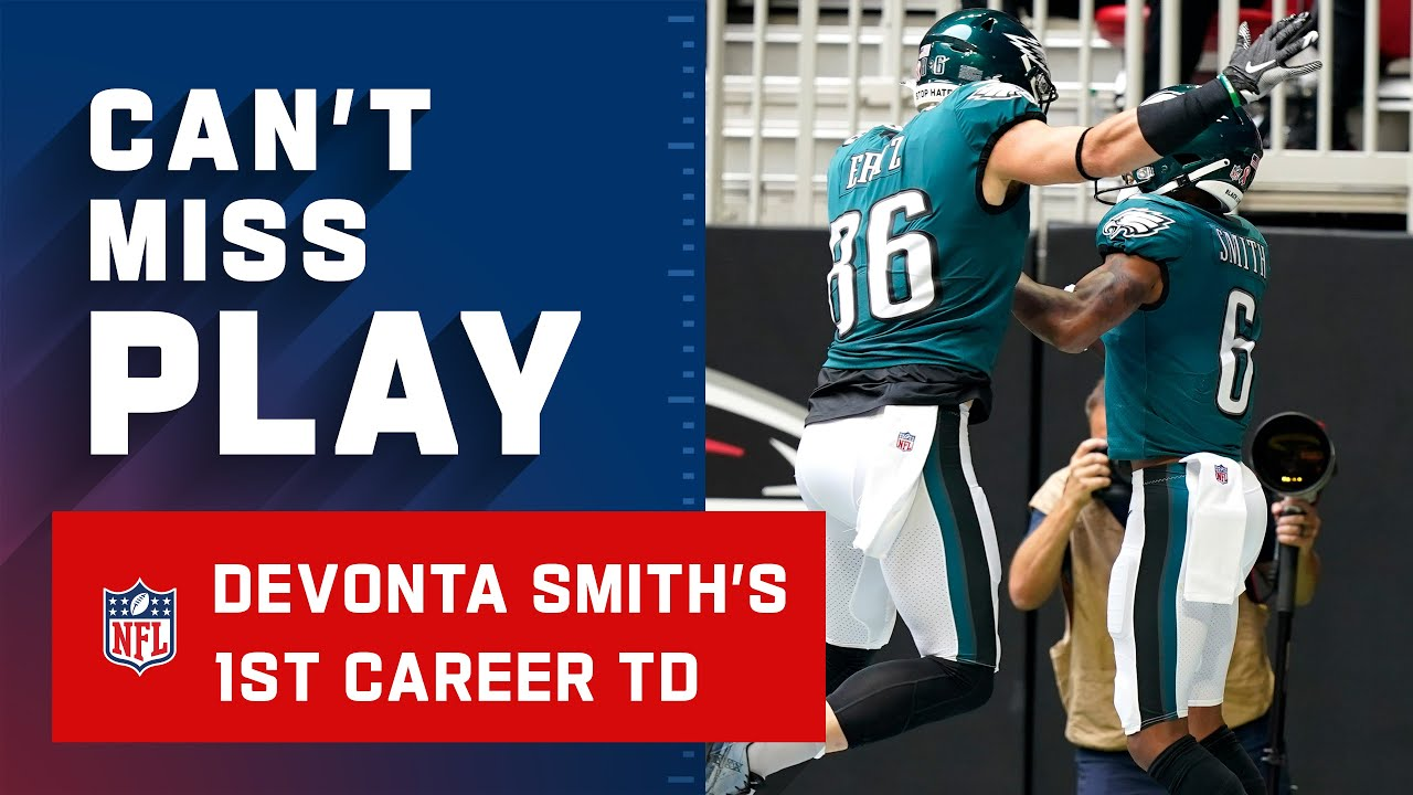 Devonta Smith's first NFL catch is a touchdown, Eagles' first of the ...