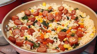 Almoço Completo – Arroz Simples Com Calabresa