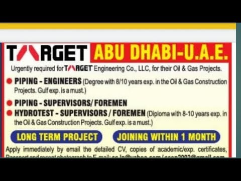Job in Dubai (Abu Dhabi ) TARGET ENGINEERING CO. LLC COMPANY FOR ALL ENGINEERS AND ALL EMPLOYEE