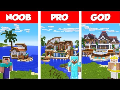 Minecraft NOOB Vs PRO Vs GOD: TROPICAL HOUSE ON WATER BUILD CHALLENGE In Minecraft / Animation