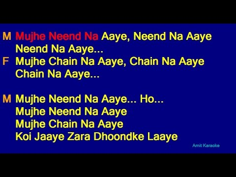Mujhe Nind Na Aaye - Udit Narayan Anuradha Paudwal Duet Hindi Full Karaoke with Lyrics Mp3