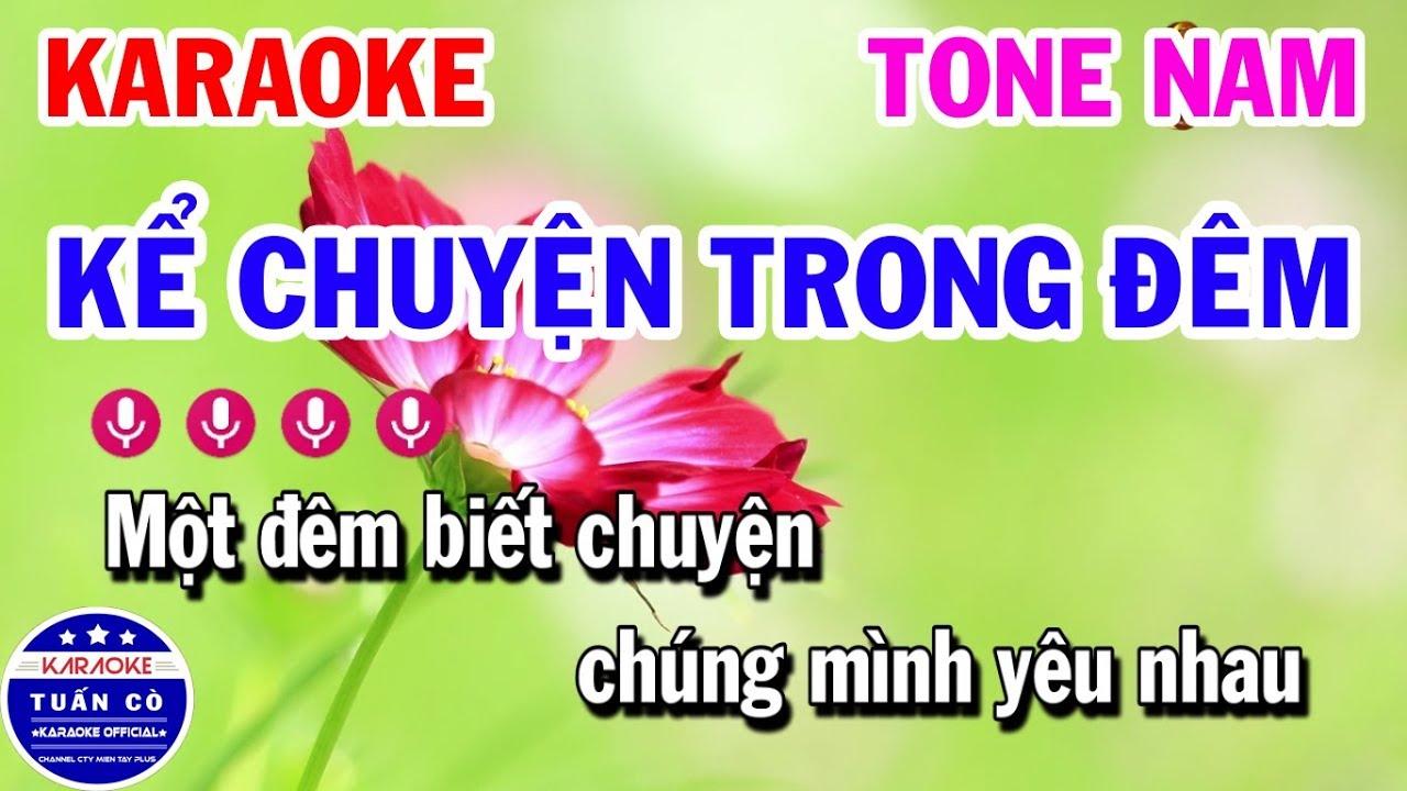 Karaoke Kể Chuyện Trong Đêm   Nhạc Sống Tone Nam Beat   Karaoke Tuấn Cò