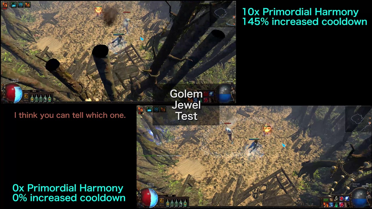 Primordial Harmony △ Golem skill cooldown comparison (POE