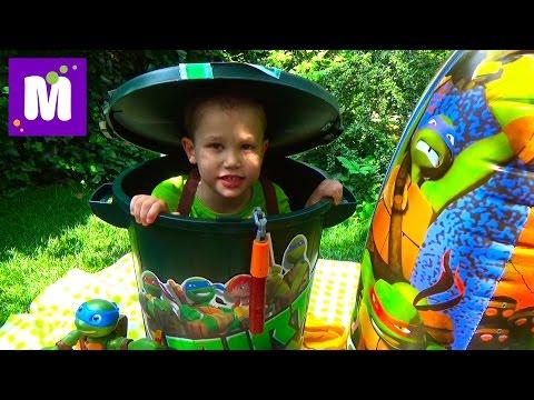 Черепашки Ниндзя полный контейнер игрушек открываем TMNT Giant container with toys unboxing