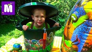 Черепашки Ниндзя полный контейнер игрушек открываем TMNT