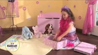 Girls Pink Princess Wooden Toy Box Chest Kidkraft Austin 14957