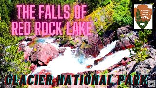 Glacier National Park. Hiking to Redrock Lake and the waterfalls from the Many Glacier Campground.