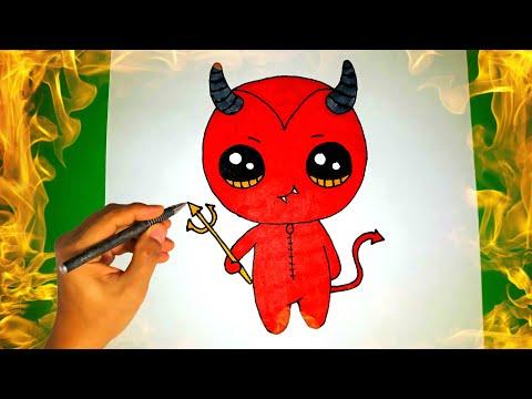 Как нарисовать милого ДЬЯВОЛА на Хеллоуин? Лёгкие рисунки для срисовки