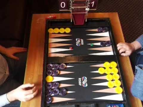 Moscow Backgammon. September tournament. 7 point match. Azizov (black) - Alenin (yellow).