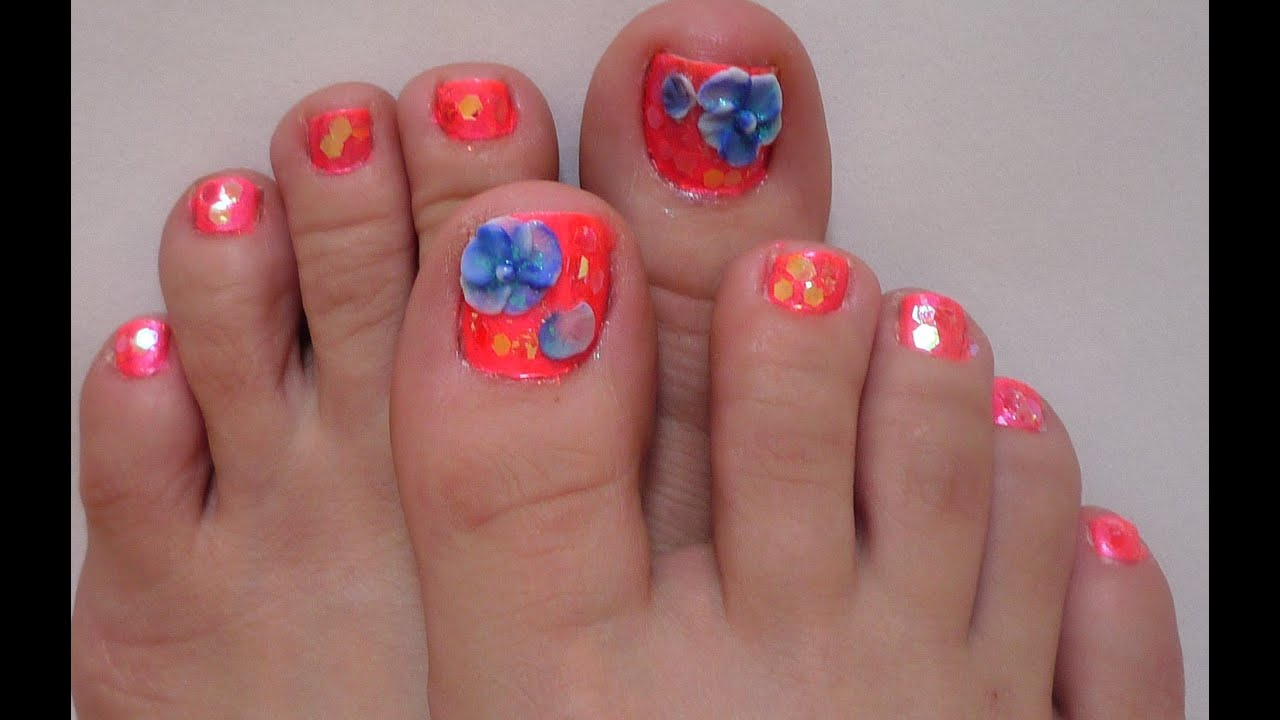 3d blue and neon orange toe nail