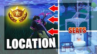 Fortnite: Search between three oversized seats | Location Battle Pass Week 8 Season 5 Challenges!