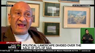 The political landscape divided over the sale of 51% of South African Airways to Takatso Consortium