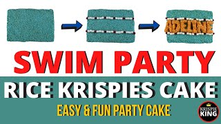 How to Make a Rice Krispies Cake for a SWIM PARTY (Personalized!)