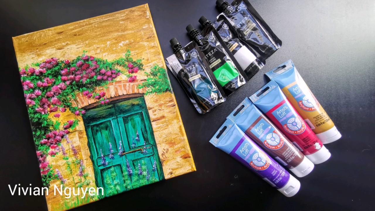 Vẽ tranh dàn hoa đỏ dễ nhất bằng màu acrylic – How to paint a flower wall by Acrylic