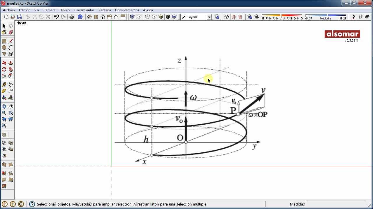Tutorial sketchup formas helicoidales 1 muelle y rampa for Como hacer una escalera de caracol