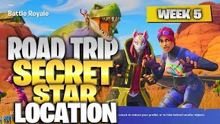 "Fortnite Battle Royale Season 5 Week 5 Secret Battlestar Location (""Road Trip"" Challenges)"