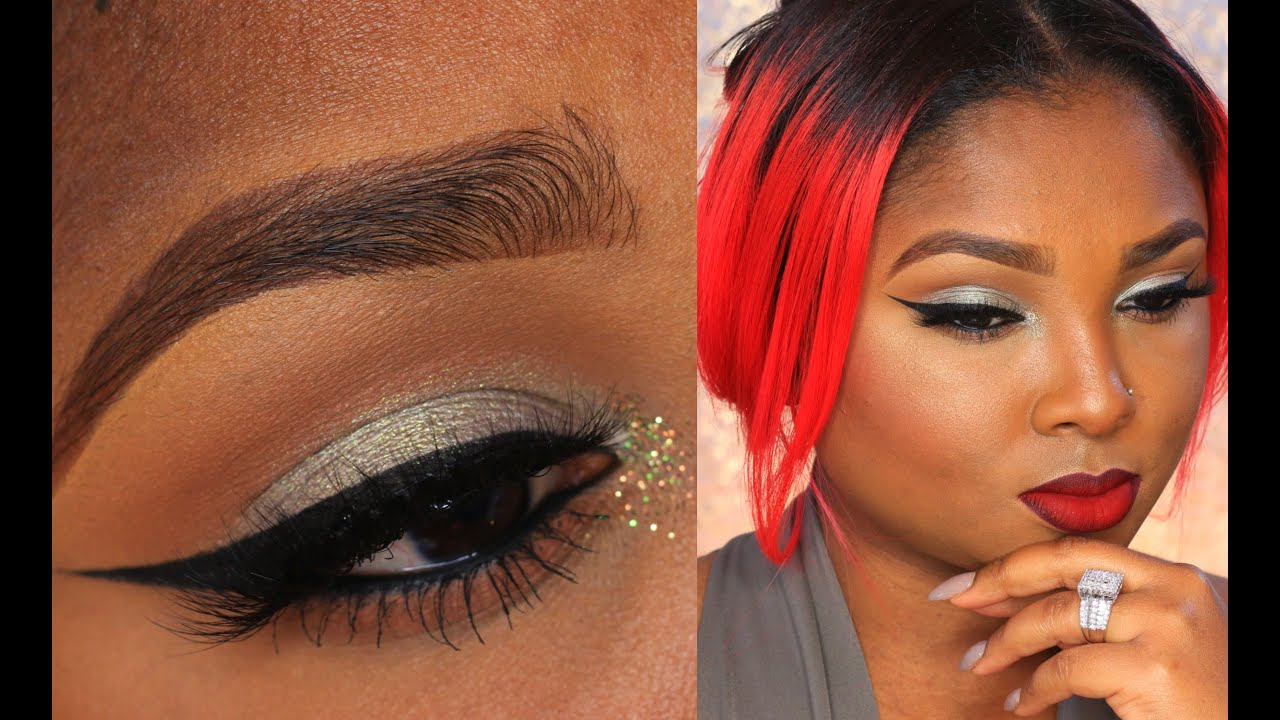 greengray eyes amp red ombre lip full face make up