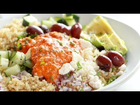 Mediterranean Quinoa Bowls with Red Pepper Sauce