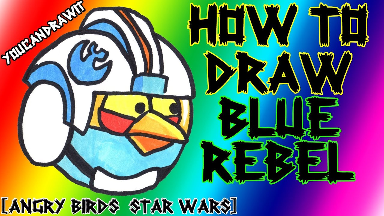 How To Draw Blue Rebel Pilot Bird From Angry Birds Star