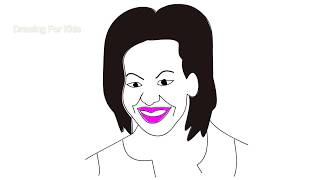 Michelle Obama draw | drawing on step by step