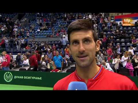 Interview (in English) with Novak Djokovic after his Davis Cup match