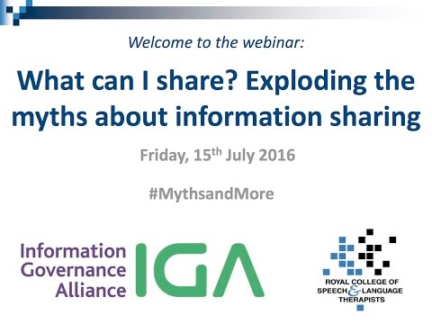 What can I share? Exploding the myths about information sharing