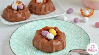 Budini al cioccolato con nido di ovetti - Idea facile tema Pasqua