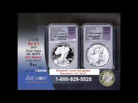 Set of Five 2014 American Silver Eagles on Art and Coin TV