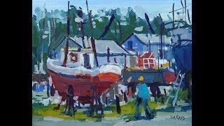 "Sarkis Antikajian's Landscape REAL TIME Gouache Painting Demo: ""Dry Dock"""