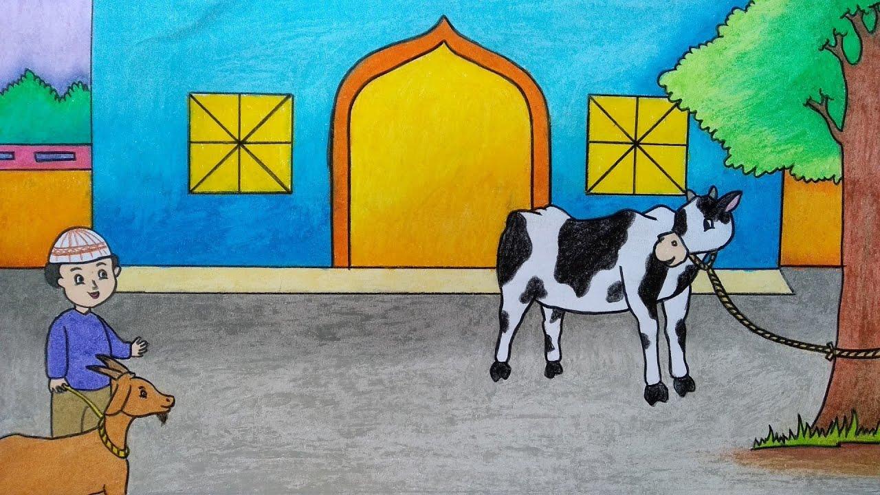 Cara Menggambar Hewan Qurban Menggambar Tema Idul Adha Cara Menggambar Sapi Youtube