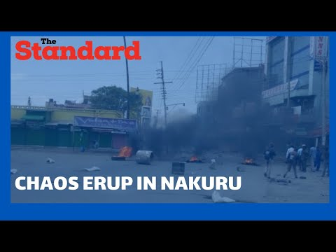 Chaos erupts in Nakuru as matatu operators engage police in running battles over forceful eviction