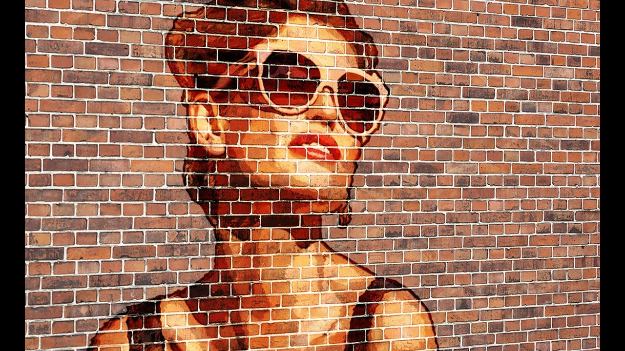 Brick Wall Art photoshop: transform a photo into a brick wall portrait - youtube