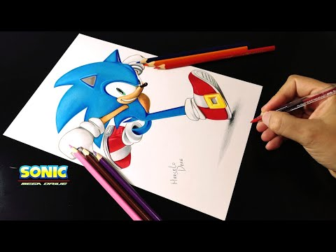 Drawing Sonic The Hedgehog Dibujando A Sonic